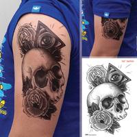 "Waterproof High Quality Temporary Tattoo Sticker "" Angel Eyes & Skull "" -15.5*22 cm"