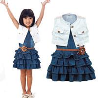 2014 New Children's Clothing Girls Denim Dress Set Dress + Jacket + Belt (3pcs) cake layer dress explosion models free shipping