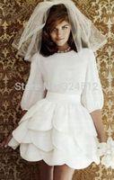 Vintage New Short Mini White/Ivory Petals Wedding Dress Custom All Size Vestidos De Noiva Gown