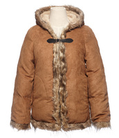 2014 New Women's Western Style Winter Fur Retro Hooded Thicken Long Sleeves  Warm Cape Wind Coat Camel
