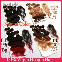 6a ombre hair extensions human brazilian virgin hair with closure body wave 3 tone T4/30/27,T27/30/4,1b/99j/burgundy,1b 6pcs