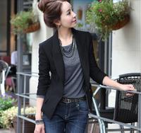 New 2014 fashion women suit, slim one button jacket , plus size blazer, size S-XXL  black Drop shipping ,free shipping