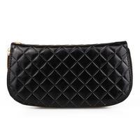 Women Wallet Purse Card Holder Clutch Bag Wristlet PU Rhombus Zip Closure Black
