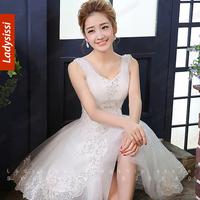 2014 sweet romantic gauze sling wedding dress bride toast white gauze dress short wedding gowns princess luxury crystal dress