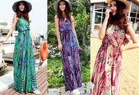 Qiyun V neck sexy backless Women ladies pleated sexy summer beach sun maxi long dress Robe Plage Strandkleid Kleid Vestido