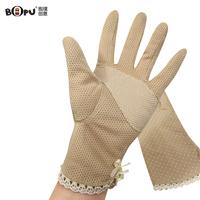 Slip-resistant gloves summer sunscreen short design female summer sun-shading women's sunscreen gloves thin long 100% cotton