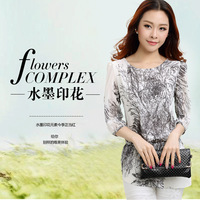 Summer vintage o-neck loose plus size clothing top print chiffon shirt short-sleeve