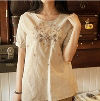 Summer women's fluid loose t-shirt female short-sleeve 2014 national trend linen top female t-shirt print