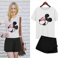 2014 short-sleeve T-shirt shorts female casual twinset chiffon short culottes