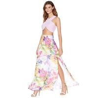 Unique Watercolor Flower Print Side Split Floor Length Elegant Chiffon Single Placket Skirt Women Skirts Factory Dropshipping