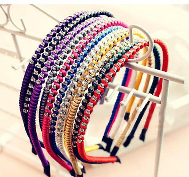 New Fashion Women Braided Hair Headband Barrette Hair Sticker crystal hair band Hair Accessories Free Shipping FD154(China (Mainland))