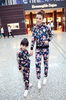 Autumn Beautiful Floral Print peluche velvet fabric Mother and Daughter Clothing Sports Set Korean Style Casual Family Clothing