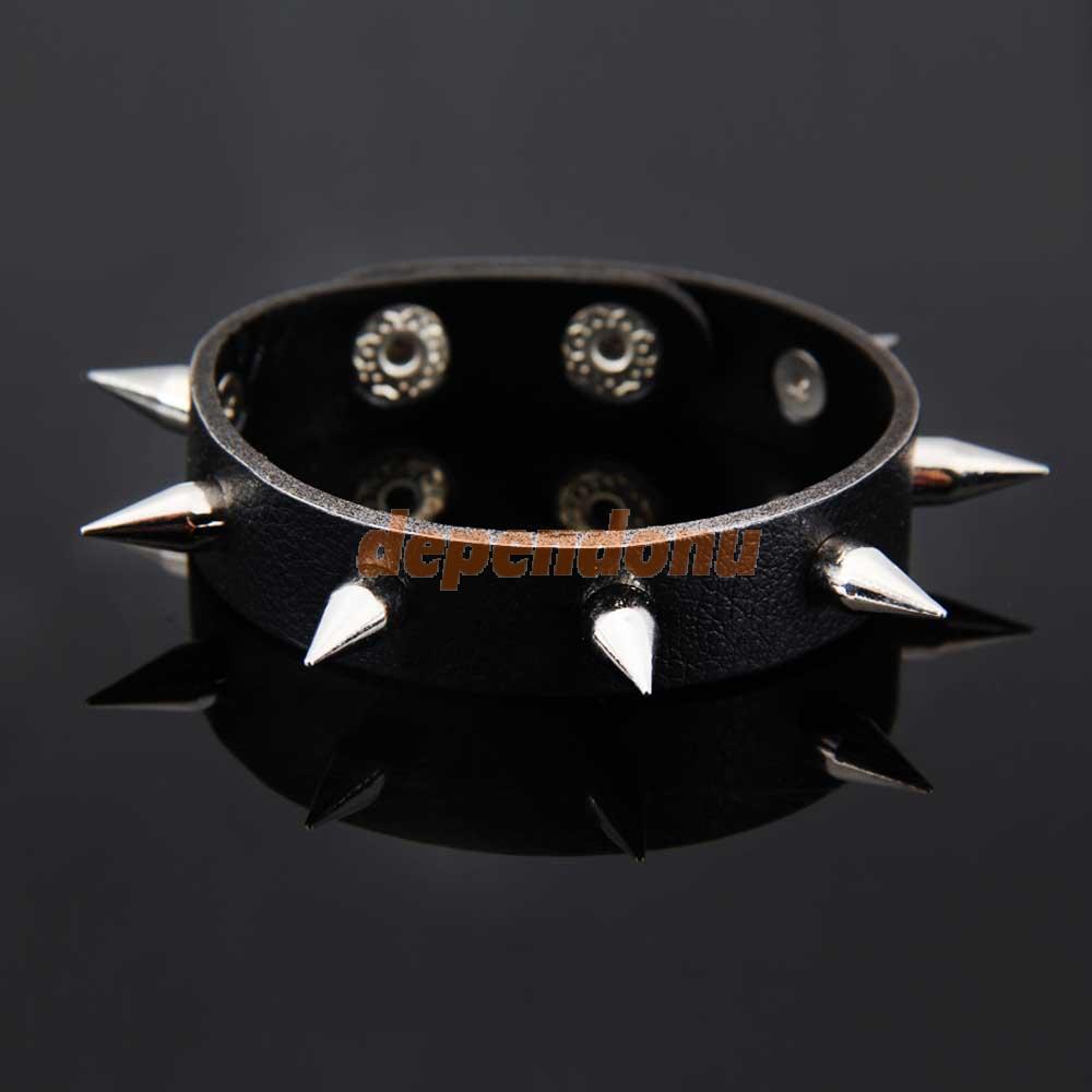 Punk Spike Rivet Studded Bangle Bacelet Leather Wristband Unisex Black(China (Mainland))
