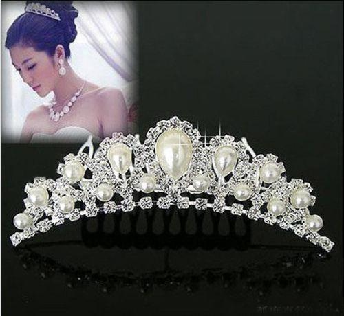 Charming Noble Imitation Pearl Rhinestone Inlay Crown Wedding Comb Bride Hair Free Shipping