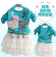 girls lace dress Swan pattern long-sleeve T-shirt children's autumn wear clothing sets children girl baby dresses suit clothes