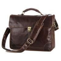 European Vintage Style Oil Wax Cow Leather Men Business Laptop Bags Genuine Leather Handbags / Briefcase Travel Bags For Men