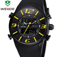 New Arrival WEIDE Men Military Quartz Watch Luxury Brand Rubber Strap 3ATM Waterproof Analog Digital Men Sports Watches WH3402