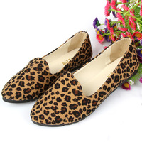 Free shipping 2014 Spring new women flat shoes leopard shallow mouth flats casual single shoes nurses shoe wholesales