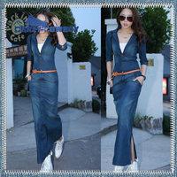 2014 spring summer half / full sleeve double belts blue long dress slim waist washed denim jeans dresses for women S M L XXL XXL