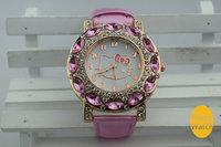 2014 New Fashion Big Diamond hello kitty watch girl kids women leather strap dress watches quart rhinestone quart wrist watch