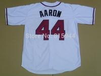 Atlanta #44 Hank Aaron white adult baseball jerseys throwback mix order free shipping