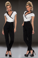 2014 Summer fashion overall Black White Individual V-neck Jumpsuit  women work wear Plus size romper macacao feminino LC6451