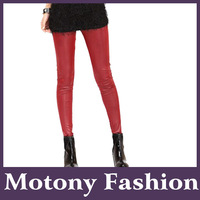 Motony Women's Faux Leather Cashmere And Thickening Cotton Stretch Leggings