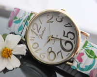 Free DHL shipping, 100pcs/Lot Hot Selling Geneva Srping Flower Strenchable Watches For Ladies Women Dress Watch Quartz Watches
