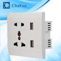 Free Shipping +Double  USB  Wall Socket  AC110- 250V /10A +Universal  Five multi function hole socket