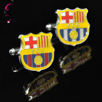 Barcelona Sport Mark Cuff Link Yellow Enamel Men's Shirt Cufflink - Good Quality Jewelry