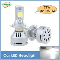 2014 New 1 Set 72W 6400LM CREE Xlamp MT-G2 LED Car Lights DRL Bulb H4 H/L/H7/H11/9005HB3/9006/H13/9004/9007/D2/D4 6500K White