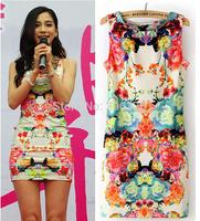 Fashion Dress Wholesale 2014 Women's Summer sleeveless slim hip printing flower sexy mini Dresses S M L+Free shipping