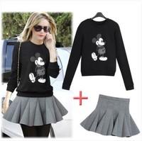 New 2014 Female costume Mickey Mouse Clothing set Sport Suit Women Winter Womens skirt & hoody Tracksuit moleton feminino hoodie