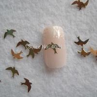 MS-286-2 Free Shipping Metal Gold Swallow Nail Art Metal Sticker Nail Art Decoration Fancy Outlooking