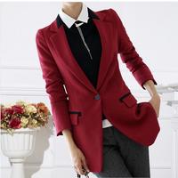 Women's Blazer , Big Size Slim Korean OL Medium-Long Woman jacket Spring And Autumn 2015 Free Shipping ! S-XXXL