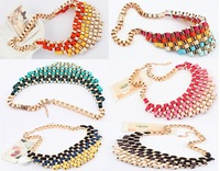 6 Style Luxury Statement Alloy Necklaces Gradient color retro metal exaggerated temperament short necklace!