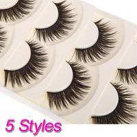 New Fashion 5 Pair Thick Long False Eyelashes Eyelash Fake Eye Lashes Voluminous Makeup