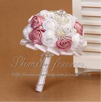 Elegant HANDMADE Bridal Bridesmaid Wedding Bouquet Crystal Pearl Pink &white Posy Decor
