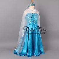 Wholesale 2014 Frozen 2 Pcs Elsa Dress And Crown Custom Made Cosplay Dress Summer Girl Princess Elsa Dress Costume for Children