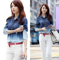 2014 Autumn Korean New Shirt Jeans Women Slim Fit Gradient Jeans Calcas De Brim Blusas Casual Camisa Jeans Woman