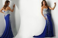 2014 New Arrived Style Sexy Sweetheart Off The Shoulder Floor-Length Sheath Royal Blue Heavy Crystal Beaded Long Prom Dress