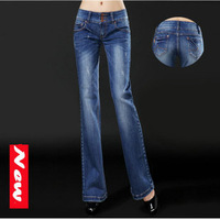 New 2014 Fashion Leisure Micro denim bell-bottoms Slim Was thin Wide leg jeans female trousers