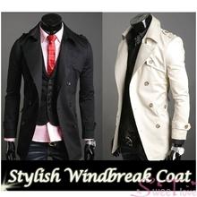 2014 Men's Stylish Double Breasted Long Trench Coat Jacket Windbreak Black, Beige 4Size M,L,XL,XX Dropshopping 3386(China (Mainland))
