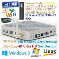 Intel Core I5 Mini PC Fanless Preinstalled 64bit Win 7 With 8GB Ram 128G SSD 1TB HDD Support USB3.0 VGA HDMI MIC SPK Thin Client