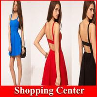 Free Shipping 2014 Summer Fashion Sexy Dress Spaghetti Strap Racerback Backless Slim One-piece Ruffle Club Dress dropshipping