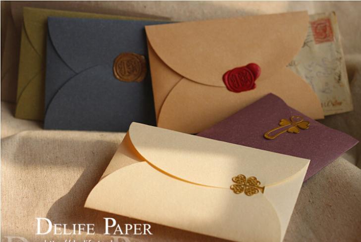 Wholesale 10 Colors A Grade Quality 250gsm Perized Kraft Paper Envelops/Heart Type Self-lock Gift Envelop (30pcs/lot)(China (Mainland))