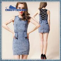 Free shipping hot sale blue black lace mini short summer dress 2014 women clothing high waist slim hip sexy sleeveless dresses