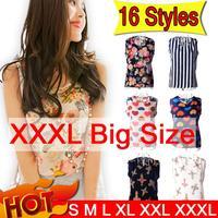 Casual Women T Shirt 16 Pattern Flower Print XXXL Plus Size Summer Women Blouses Camisas Femininas Roupas Top Tee Shirt Women