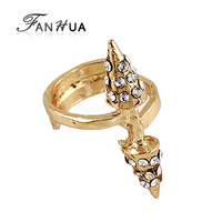 2014 New Wholesale Price Punk Style Spike Rings Paved with Rhinestone for Women and Men Gold Color Alloy