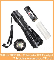 1800 Lumen Zoom CREE XM-L T6 Zoomable LED Flashlight 7 Modes waterproof Torch Lamp Light outdoor lighting